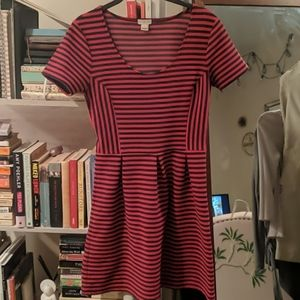 Navy and red striped fit and flare dress JCrew 2